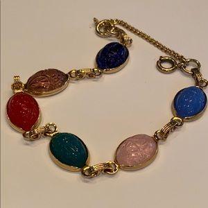 "Jewelry - Scarab bracelet gold tone 7"" plus extender"